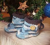 Topánočky - Sivo-modré čižmičky - 10259264_