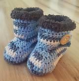 Topánočky - Sivo-modré čižmičky - 10259266_
