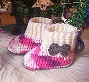 Topánočky - Melírové čižmičky s mašlou - 10259274_