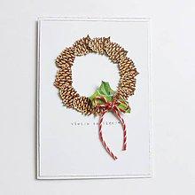 Papiernictvo - Vianočná pohľadnica, šišky - 10259087_