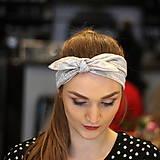 Šatky - Vintage šatka do vlasov Strieborné bodky - 10259431_