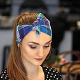 Ozdoby do vlasov - Vintage šatka do vlasov Modré káro - 10259439_
