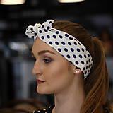 Ozdoby do vlasov - Vintage šatka do vlasov Modré bodky - 10259484_