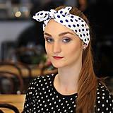 Ozdoby do vlasov - Vintage šatka do vlasov Modré bodky - 10259485_