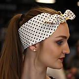 Ozdoby do vlasov - Vintage šatka do vlasov Žltá + čiernobiela bodkovaná - 10259486_