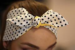 Ozdoby do vlasov - Vintage šatka do vlasov Žltá + čiernobiela bodkovaná - 10259488_