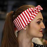 Ozdoby do vlasov - Vintage šatka do vlasov Red stripes - 10259494_
