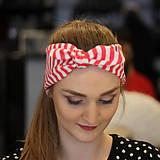 Ozdoby do vlasov - Vintage šatka do vlasov Red stripes - 10259495_