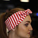 Ozdoby do vlasov - Vintage šatka do vlasov Red stripes - 10259497_