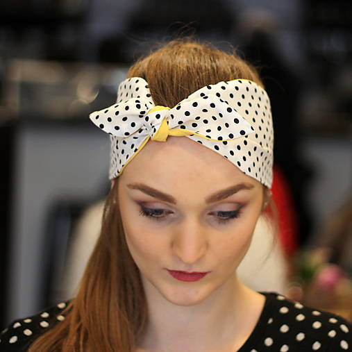 Vintage šatka do vlasov Žltá + čiernobiela bodkovaná