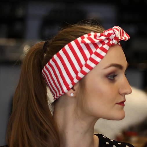 Vintage šatka do vlasov Red stripes