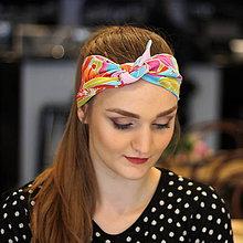 Ozdoby do vlasov - Vintage šatka do vlasov Ružové kvety - 10259435_