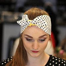 Ozdoby do vlasov - Vintage šatka do vlasov Žltá + čiernobiela bodkovaná - 10259487_