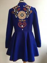 Kabáty - folk kabát s ornamentami - kráľovsky modrý - 10259295_