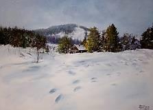 Obrazy - Šumava - Zasněžená Horská Kvilda - originální malba akrylem - 10259605_