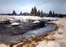 Obrazy - Šumava - Zimní Roklanský potok - originální malba akrylem - 10259606_
