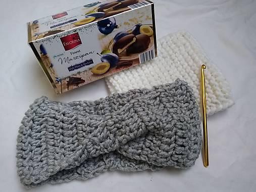 Háčkovaná čelenka grey   QUEENDI - SAShE.sk - Handmade Ozdoby do vlasov ce5bccd91c