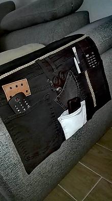 Úžitkový textil - Organizér na sedačku  z recyklovanej rifľoviny podľa vašich požiadaviek - 10259694_