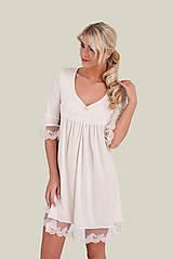 Pyžamy a župany - Dámska nočná košeľa s krajkou z organickej bavlny (XL biela) - 10259498_