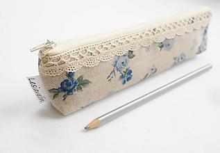 Taštičky - Peračník - Modré ružičky - 10260054_