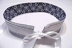 Opasky - Folklórny opasok modrý / obojstranný s krajkou - 10260188_