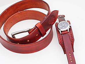 Doplnky - Kožený opasok s hodinkami, hnedý náramok - 10260819_