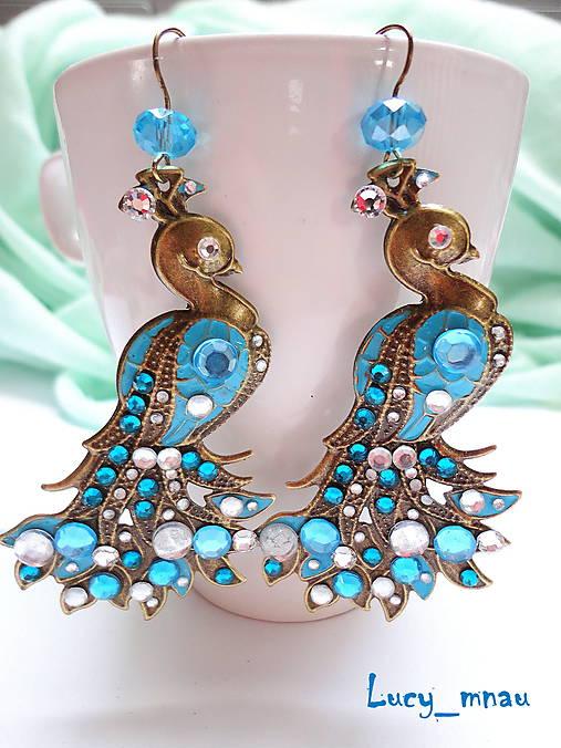 Náušničky Páv modro-modrý :)