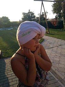 Úžitkový textil - Osuška na vlasy - turban s vlastnou výšivkou. - 10260734_