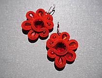 Náušnice - Červené kvetinky - 10260246_