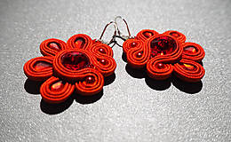 Náušnice - Červené kvetinky - 10260247_