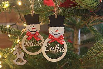 Dekorácie - Vianočný snehuliačik s menom - 10261420_