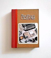 Papiernictvo - Ručne šitý denník/notes/zápisník/diár/náčrtník/skicár ,,Follow your deams