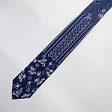 "Doplnky - kravata folk ""modrotlač patchwork"" - 10261522_"