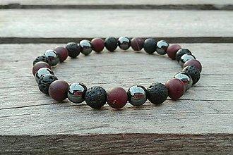 Šperky - Náramok - láva, mookait, hematit - 10262191_