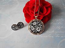 Sady šperkov - Biely kvietok v čiernej - 10262036_
