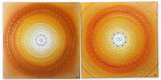 Obrazy - SLNEČNÁ MANDALA (kvet šťastia) 80 x 80 - 10262239_