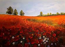 Obrazy - Makové pole - originální malba akrylem - 10262167_