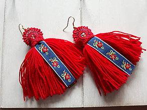 Náušnice - Červené strapcové náušnice - 10261185_