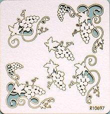 Polotovary - Sada lepenkových výrezov - hrozno 6 ks - 10262332_