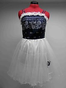 Šaty - 002 - Dámske modrotlačové, tylové šaty 38 - 10261346_