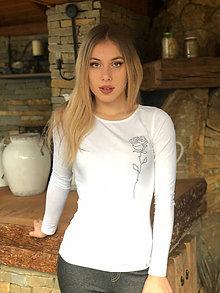 Tričká - Dámske tričko z organickej bavlny RUŽA  dlhý rukáv - 10262159_