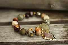 Náramky - Masívny Boho náramok z minerálov a achátom v zlate - 10261544_