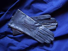 Rukavice - Tmavomodré dámské rukavice s vlněnou podšívkou - 10262791_