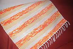 Úžitkový textil - Tkaný koberec bielo-žlto-oranžový - 10261729_