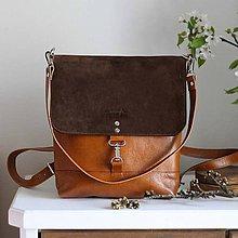 Batohy - Kožený batoh Lara (koňakovo-tmavohnedý) - 10263173_