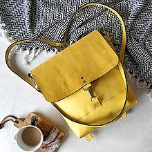 Batohy - Kožený batoh Lara (žltý) - 10263205_