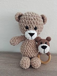 Hračky - Macko mojkáčik a hrkálka - 10264469_