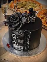 Dekorácie - Lebky/nevesta a ženích - figúrky na svadobnú tortu - 10264123_