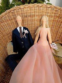 Darčeky pre svadobčanov - Apricot Love, ... textilný párik - 10264074_