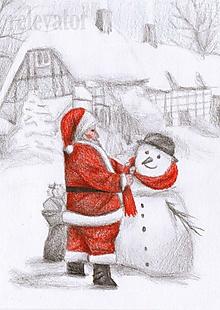 Kresby - Santa Claus zdobí snehuliaka - 10262886_